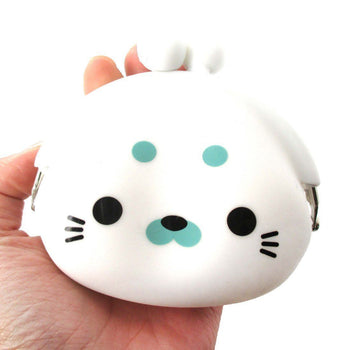 White Baby Seal Shaped Mimi Pochi Animal Friends Silicone Clasp Coin Purse Pouch | DOTOLY