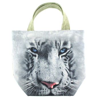Small White Bengal Tiger Face Print Fabric Small Lunch Tote Bag | DOTOLY | DOTOLY