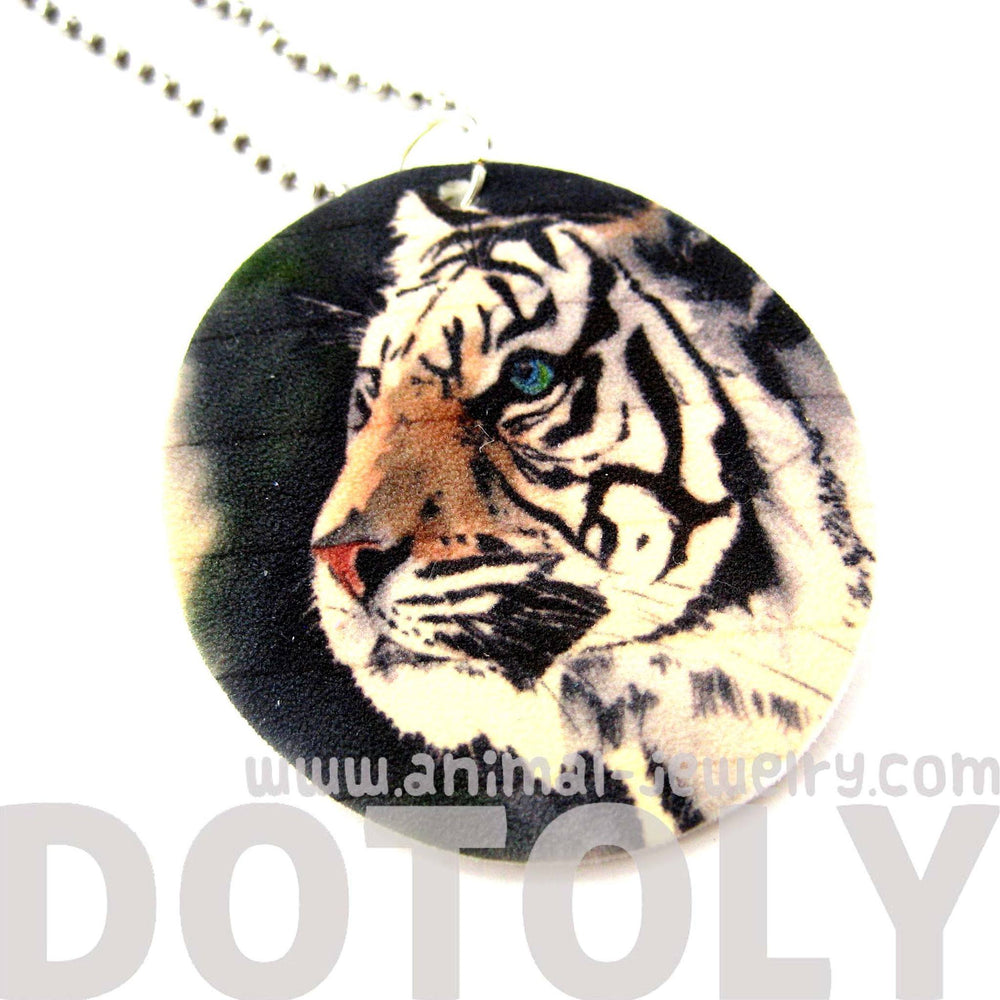 White Bengal Tiger Illustrated Animal Pendant Necklace | Handmade Shrink Plastic | DOTOLY