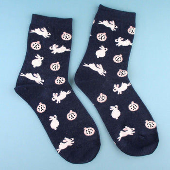 White Bunny Rabbits and Clock Patterned Cotton Socks in Navy | DOTOLY | DOTOLY