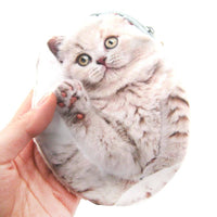 White Fluffy Kitty Cat Kitten Shaped Fabric Zipper Coin Purse Make Up Bag | DOTOLY