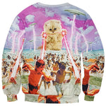 White Kitten Shooting Laser Beams UFO Attack All Over Graphic Print Sweatshirt | DOTOLY