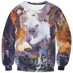 White Kitten Terrorizing a City All Over Graphic Print Sweatshirt | DOTOLY