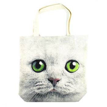 White Kitty Cat Face Print Hemp Fabric Tote Shopper Bag | Gifts for Cat Lovers | DOTOLY