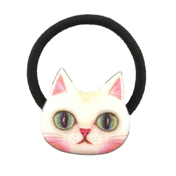 White Kitty Cat Face Shaped Glittery Hair Tie Ponytail Holder | DOTOLY