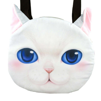 White Kitty Cat Face Shaped Large Shopper Tote Shoulder Bag | Gifts for Cat Lovers | DOTOLY