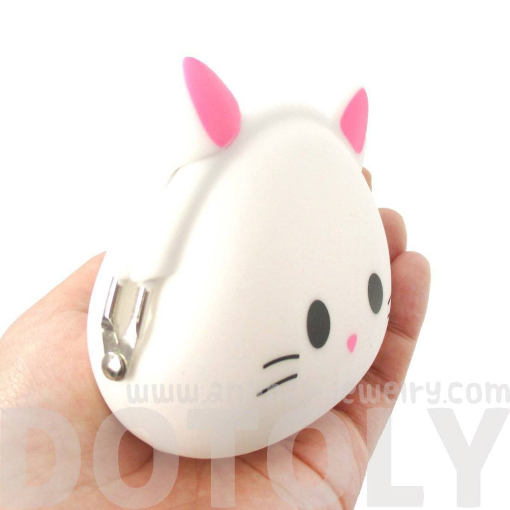 White Kitty Cat Face Shaped Mimi Pochi Animal Friends Silicone Clasp Coin Purse Pouch | DOTOLY