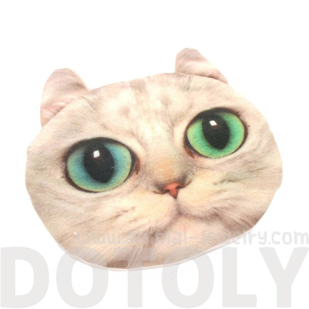 White Kitty Cat Face Shaped Soft Fabric Zipper Coin Purse Make Up Bag with Bright Green Eyes | DOTOLY