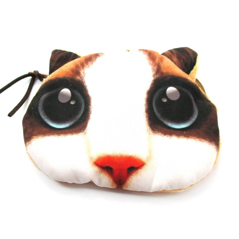 White Kitty Cat Face with Huge Eyes Shaped Soft Fabric Zipper Coin Purse Make Up Bag | DOTOLY