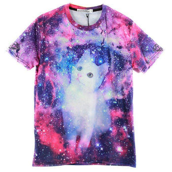 White Kitty Cat Lost in Space Universe Galaxy Nebula Print Graphic Tee | DOTOLY