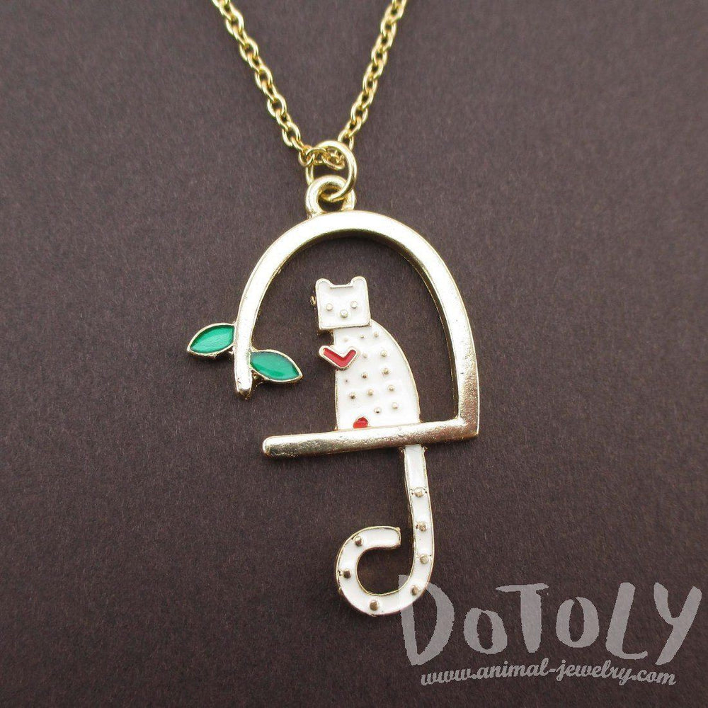 White Kitty Cat Sitting in a Birdcage Shaped Pendant Necklace | Animal Jewelry | DOTOLY