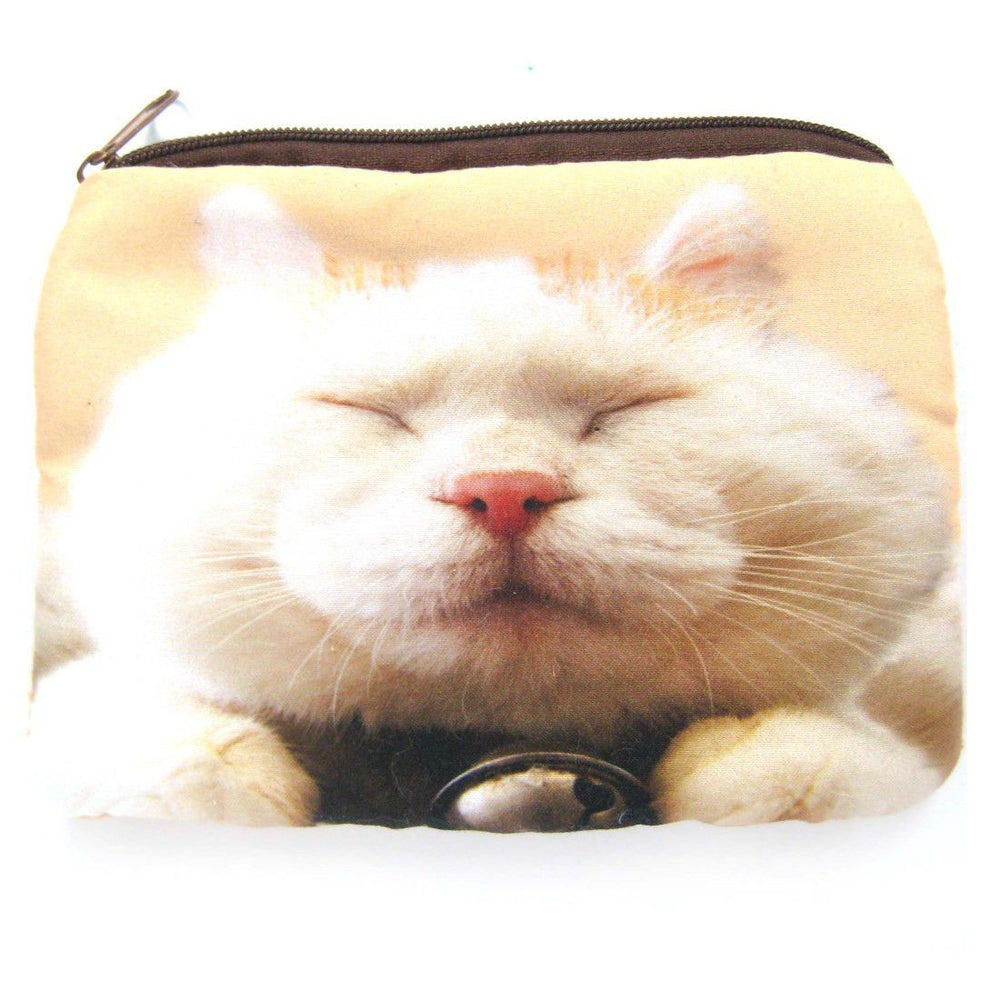 White Kitty Cat Tabby Face Digital Photo Print Animal Coin Purse Make Up Bag | DOTOLY