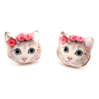 White Kitty Cat With a Floral Headdress Stud Earrings | Animal Jewelry