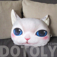 White Kitty Cat With Blue Eyes Face Shaped Soft Fabric Cushion Pillow | DOTOLY