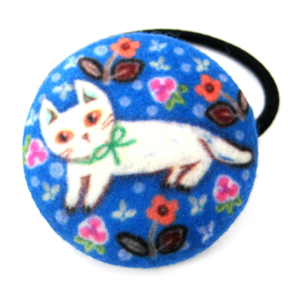 White Kitty Cat with Floral Print Button Hair Tie Pony Tail Holder in Blue Felt | DOTOLY