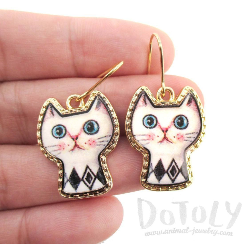 White Kitty Cat with Geometric Print Cartoon Shaped Dangle Earrings | DOTOLY | DOTOLY