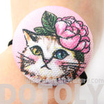 White Kitty Cat with Pink Roses Button Hair Tie Pony Tail Holder | DOTOLY