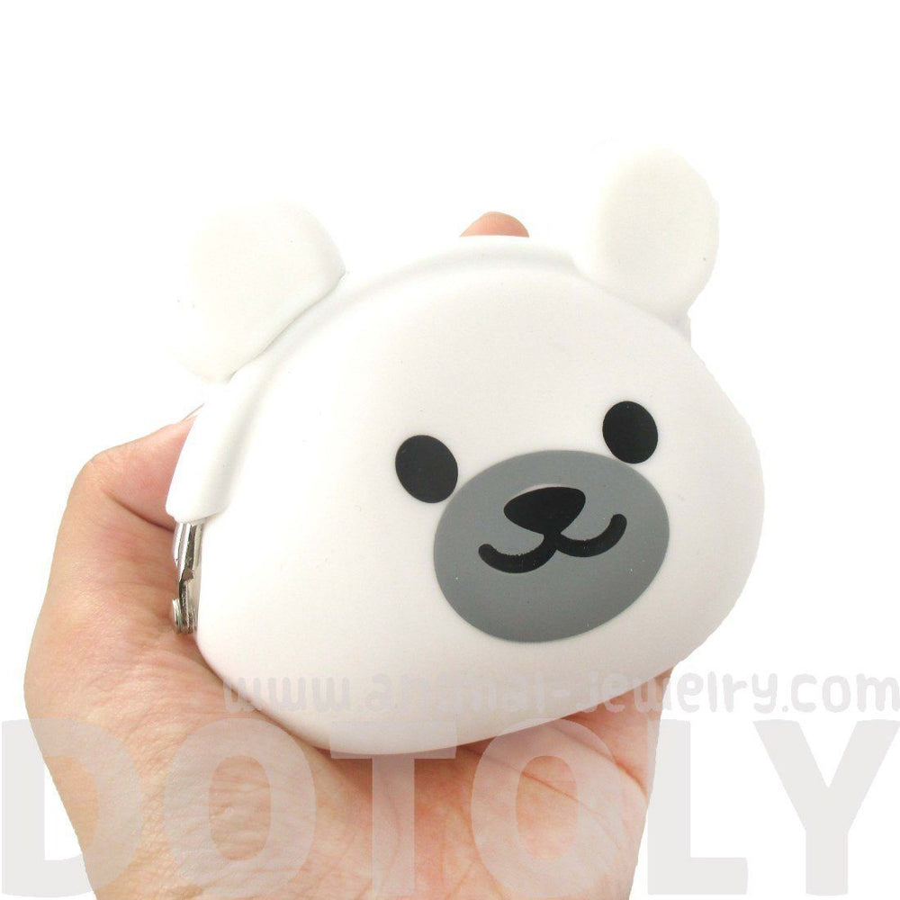 White Polar Teddy Bear Shaped Mimi Pochi Animal Friends Silicone Clasp Coin Purse Pouch | DOTOLY