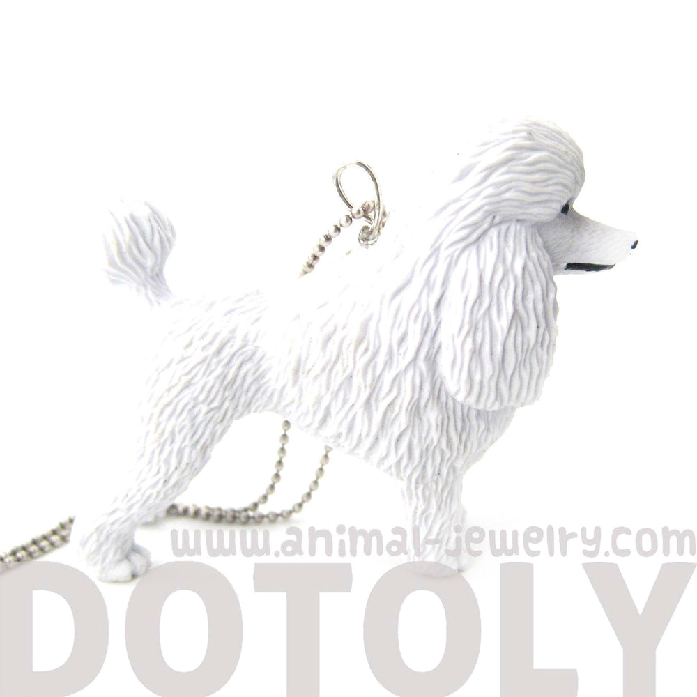 White Poodle Puppy Dog Animal Plastic Pendant Necklace | Animal Jewelry | DOTOLY