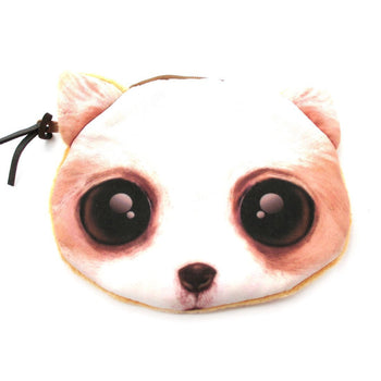 White Puppy Dog Face With Big Eyes Shaped Soft Fabric Zipper Coin Purse Make Up Bag | DOTOLY