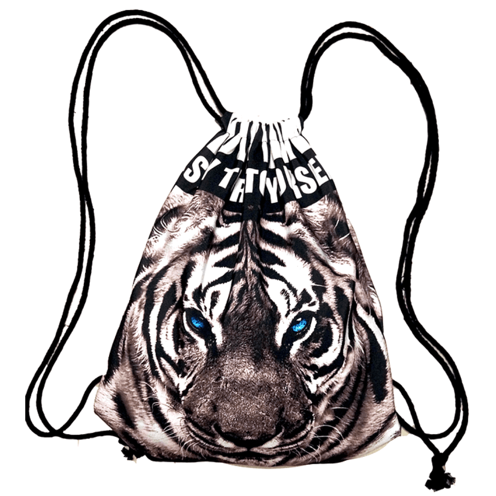 White Snow Tiger Face Animal Print Drawstring Cinch Backpack Bag for Women | DOTOLY | DOTOLY