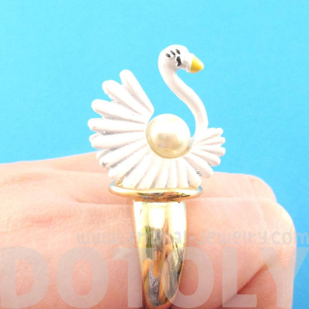 White Swan Shaped Animal Ring in Gold with Pearl Details | DOTOLY | DOTOLY
