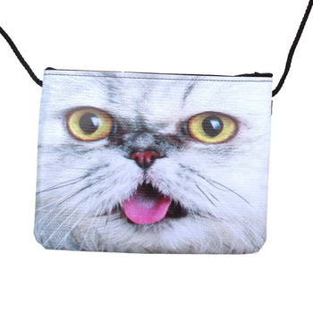 White Tabby Kitty Cat With Tongue Out Print Rectangular Cross Body Bag | DOTOLY