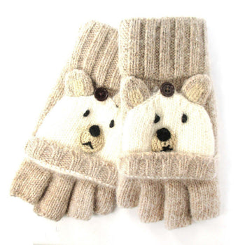 White Teddy Bear Animal Themed Wool Knit Fingerless Popover Mitten Gloves for Women | DOTOLY