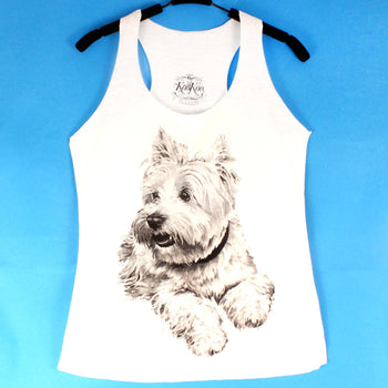 White Terrier Westie Puppy Dog Animal Graphic Print Racerback Tank Top | DOTOLY