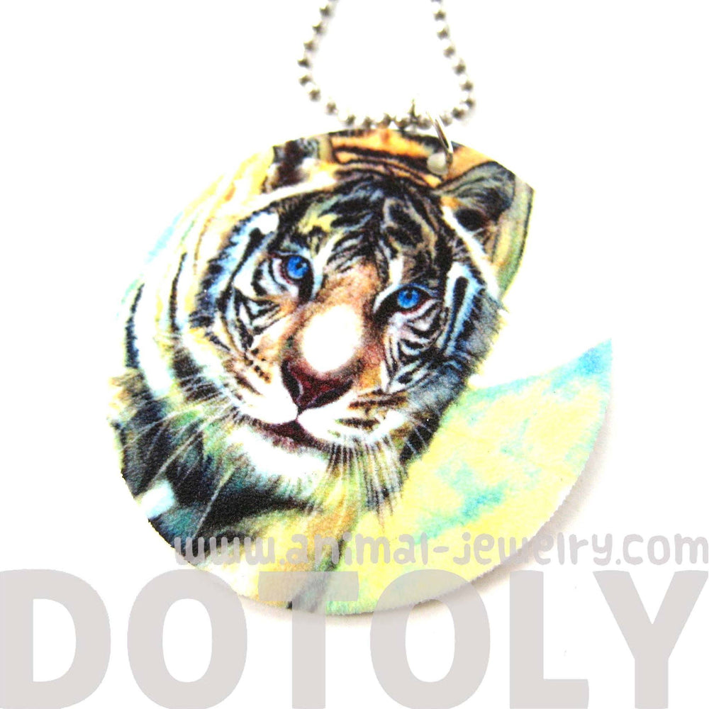 White Tiger Illustrated Animal Pendant Necklace | Handmade Shrink Plastic | DOTOLY