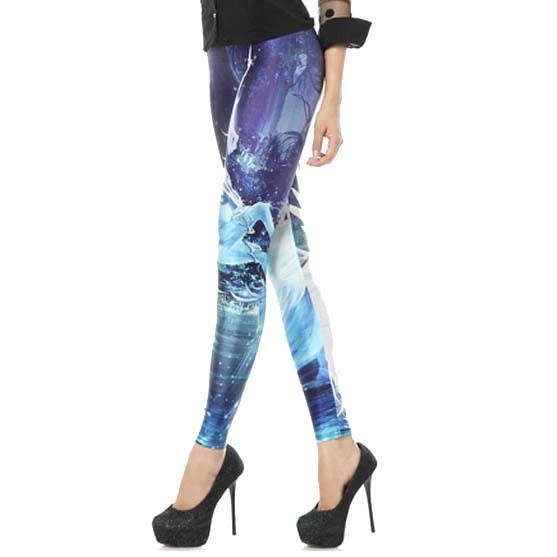 White Unicorn Galaxy Universe Sky Digital Print Comfy Stretch Leggings for Women in Blue | DOTOLY