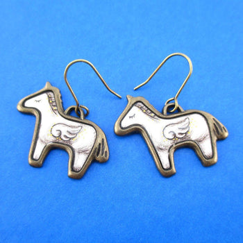 White Unicorn with Wings Shaped Illustrated Dangle Earrings | Animal Jewelry | DOTOLY