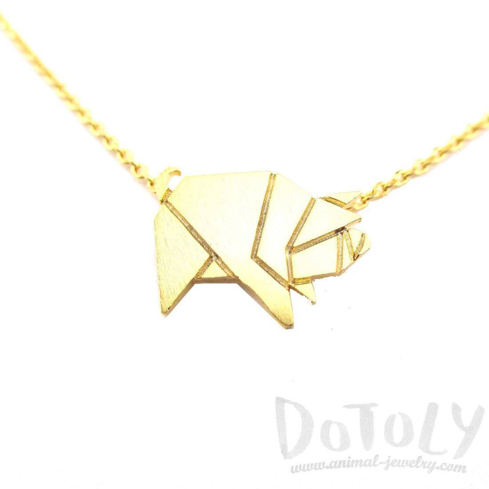 Wild Boar Pig Shaped Origami Pendant Necklace in Gold | Animal Jewelry | DOTOLY