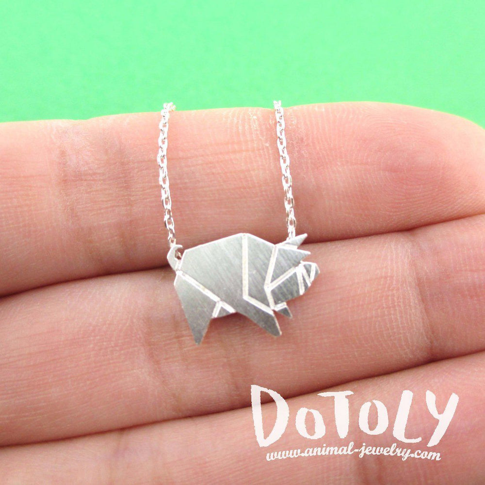 Wild boar pig shaped origami pendant necklace in silver dotoly wild boar pig shaped origami pendant necklace in silver animal jewelry mozeypictures Image collections