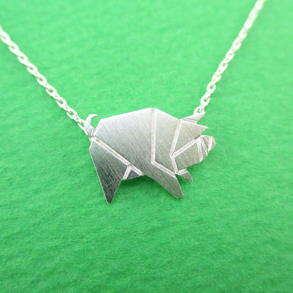 Wild Boar Pig Shaped Origami Pendant Necklace in Silver | Animal Jewelry