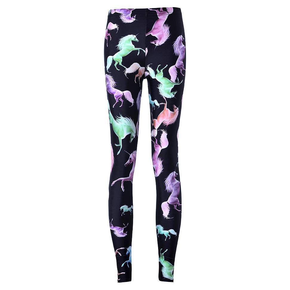 Wild Horses Digital Print Comfy Stretch Leggings for Women in Black | DOTOLY