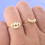 Wink Wink One Eye Open One Eye Closed Shaped 2 Piece Set Adjustable Rings | DOTOLY