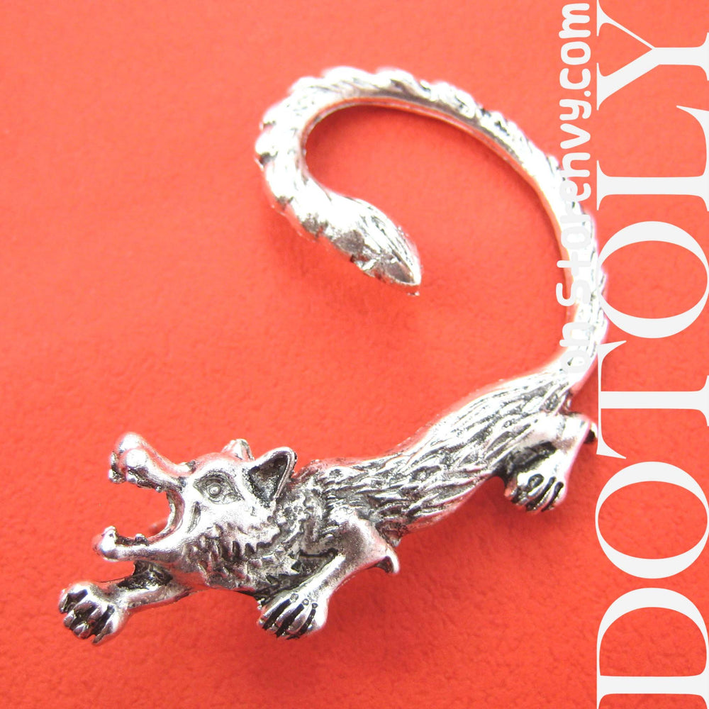 Wolf Realistic Animal Wrap Ear Cuff in Silver | DOTOLY | DOTOLY