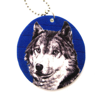 Wolf Portrait Animal Hand Drawn Pendant Necklace | Handmade Shrink Plastic | DOTOLY