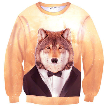 Wolf Dressed up in a Tuxedo Animal Portrait All Over Print Unisex Pullover Sweater | DOTOLY