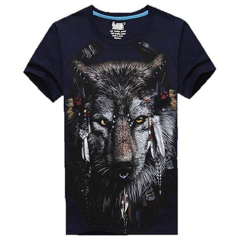 Wolf Face With Tribal Headdress Animal Print Graphic Tee in Navy | DOTOLY
