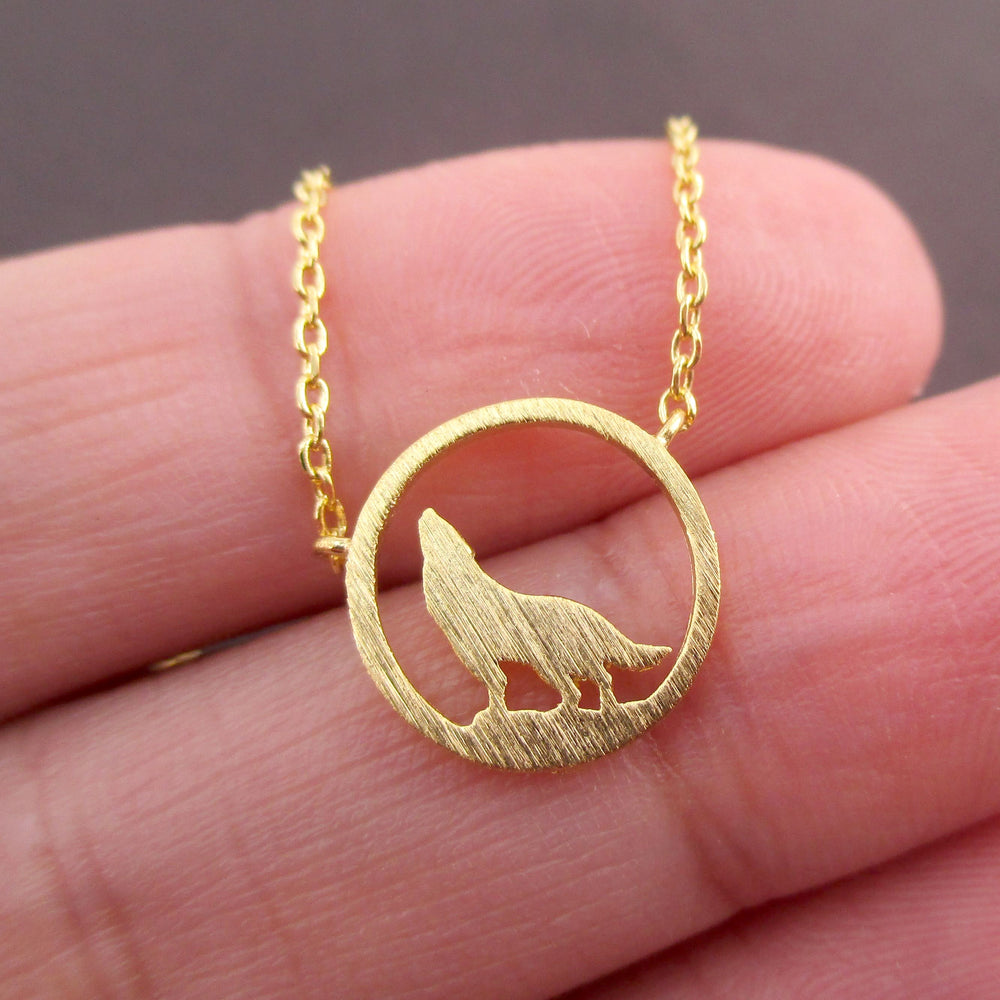 Wolf Howling Full Moon Dye Cut Shaped Pendant Necklace in Gold