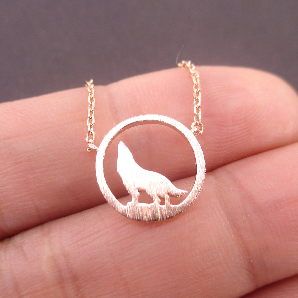 Wolf Howling Full Moon Dye Cut Shaped Pendant Necklace Animal Jewelry