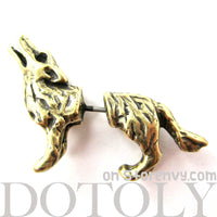 Fake Gauge Earrings: Realistic Wolf Fox Animal Shaped Plug Earrings in Brass | DOTOLY