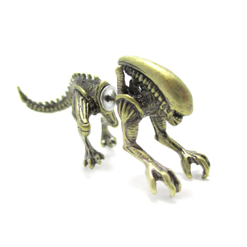 Xenomorph Alien vs. Predator AVP Shaped Front and Back Stud Earrings in Brass | DOTOLY