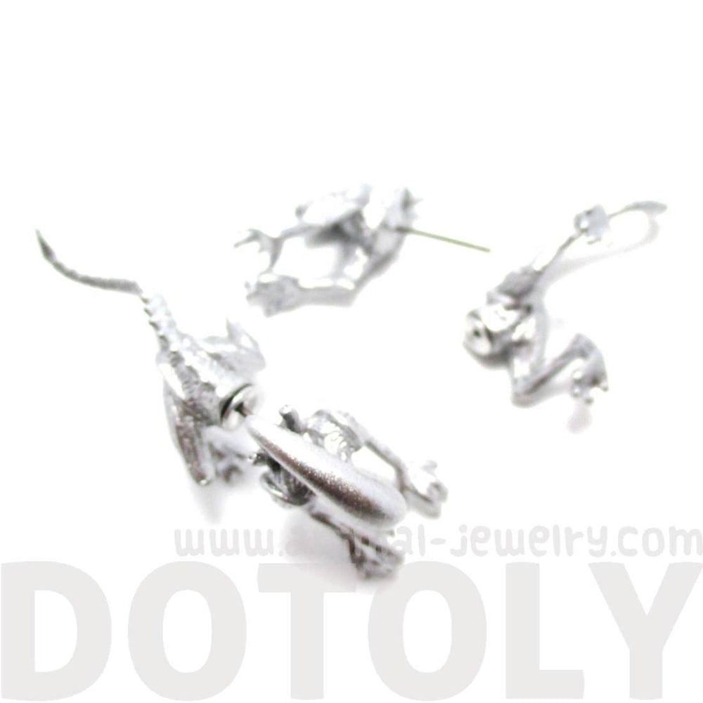 Xenomorph Alien vs. Predator AVP Shaped Front and Back Stud Earrings in Shiny Silver | DOTOLY