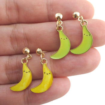 Yellow Green Ripe Unripe Smile Banana Shaped Fruity Drop Stud Earrings