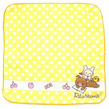 Yellow Polka Dotted Embroidered Rilakkuma Bear Handkerchief Face Towel | Japan | DOTOLY