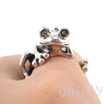 Yoga Frog Shaped Animal Wrap Around Ring in 925 Sterling Silver | US Size 4 to 8.5 | DOTOLY