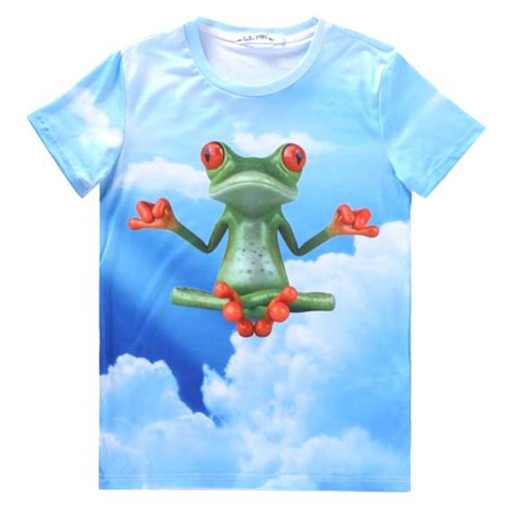 Yoga Zen Frog in The Sky All Over Graphic Print T-Shirt | Gifts for Animal Lovers | DOTOLY